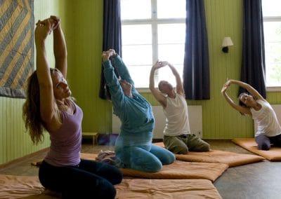 Det er yoga hver morgen, formiddag og ettermiddag. Vi bruker et bredt spekter av øvelser fra yogatradisjonen : fysiske øvelser - pusteøvelser - avspenning og meditasjon.
